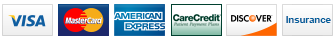 We accept Visa, MasterCard, American Express, CareCredit, Discover and Insurance.